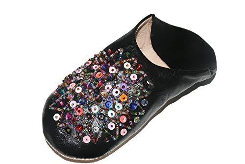 Marrakech Accessoires Orientalische Schuhe Babouche Hausschuhe Pantoffel Slipper aus Marokko - Damen - 905363-0031, Schuhgrösse:39