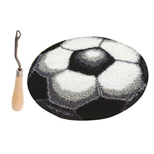 perfk Fußball Knüpfset Haken Kit, Knüpfteppich DIY Handwerk Knüpfpackung zum Selber Knüpfen Teppich für Kinder, Erwachsene
