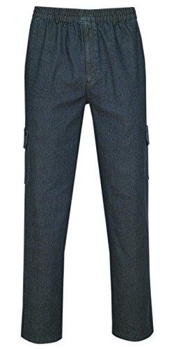 T-MODE Herren Jeans Stretch Schlupfhose Schlupfjeans Gummizughosen Sommer Kollektion-Dunkelblau-L