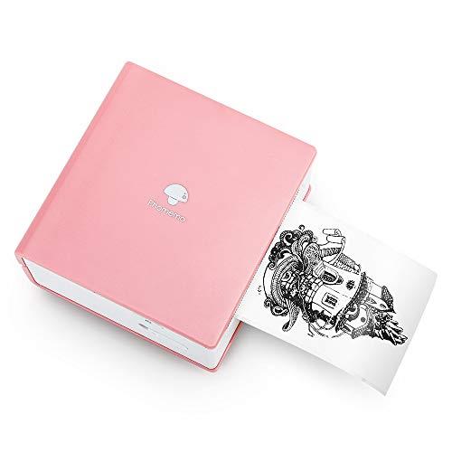 Phomemo M02 Taschendrucker Thermofotodrucker Tragbarer Mini-Bluetooth-Drucker, kompatibel mit Android- und iOS-System, mit 1 Papierrolle und Papierhalter für Journal, Reisen, Tagesplan, Rosa