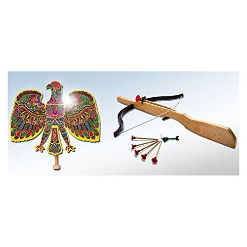 Adlerschießen Vogelschießen Klassik Set Holz mit Armbrust und 12 Pfeilen Holzarmbrust Bogenschießen Adlerschiessen Adler