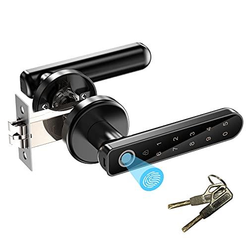 Smart Lock Fingerprint Door Lock, Keyless Entry Door Lock with Handle, Passcodes, Fingerprint, and Keys Unlock, Easy to Install for Home, Apartment, Office, Front Door, Bedroom, Black