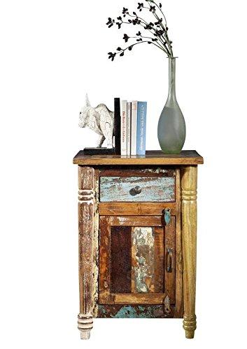 MASSIVMOEBEL24.DE in Legno Massello Mobile Vintage Laccato Comodino Legno Antico Massiccio Mobile Multicolore Legno Massello Fable #03