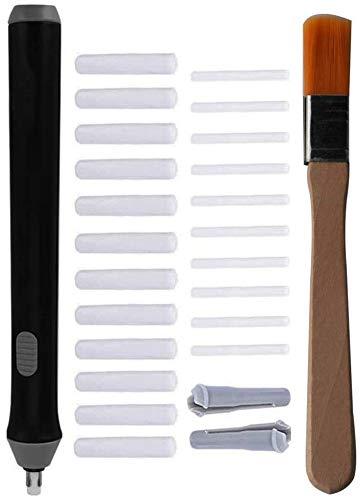 RUNCCI-YUN Cancellino elettrico,Gomma da cancellare a penna, include 22 gomme ricambiabili addizionali (10 con diametro da 2,3 mm e 12 da 5 mm), colore nero