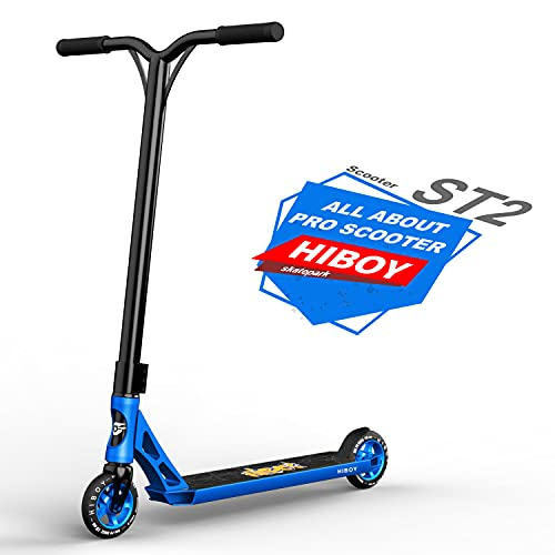Hiboy ST-2 Pro Stunt Scooters - 110mm Aluminum Core Wheels & ABEC-9 - Intermediate and Beginner Trick Scooter - Freestyle Kick Scooter for Adults, Teens, and Kids (Blue)