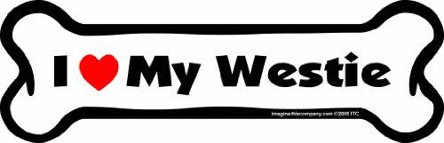 Imagine This Bone Car Magnet, I Love My Westie, 2-Inch by 7-Inch