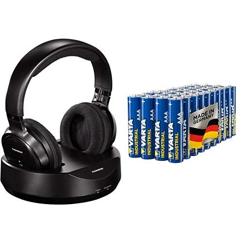 Thomson WHP3001BK Funkkopfhörer kabellos mit Ladestation schwarz & Varta Industrial Batterie AAA Micro Alkaline Batterien LR03 - 40er Pack, Made in Germany, umweltschonende Verpackung
