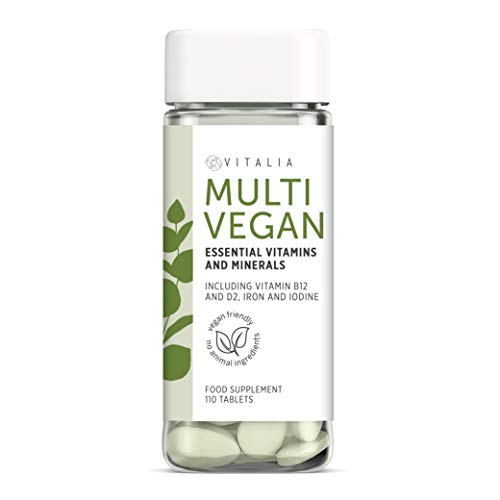 Vitalia  | Vegan Multivitamin & Mineral Supplement | Vitamins for a Plant-Based Diet | Easy to Swallow Vitamin Tablets | Multivitamins for Vegans & Vegetarians – no Animal Ingredients | 110 Tablets