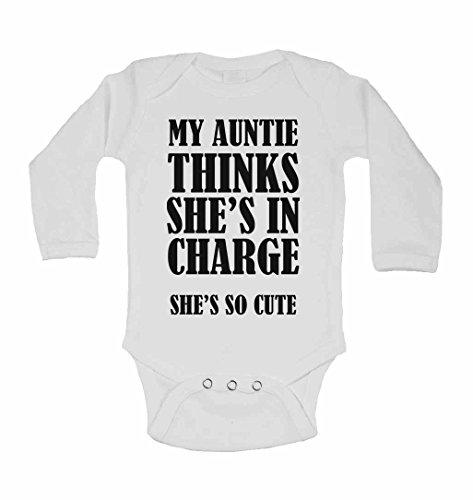 My Auntie pense qu'Elle est en clés She's so Cute – Neuf personnalisé bébé à manches longues gilets bodies bébé SE Développe pour – garçons, filles – Blanc – 2–3 ans