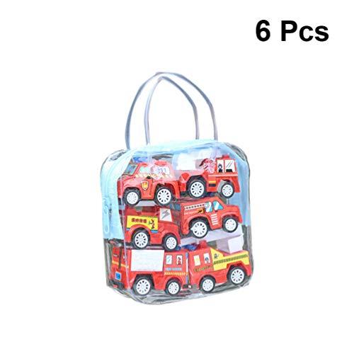 TOYANDONA 6pcs retirer les véhicules, mini camion de pompiers/véhicule dingénierie/jouets de voiture avec sac de transport pour enfants anniversaire faveurs de fête denfant