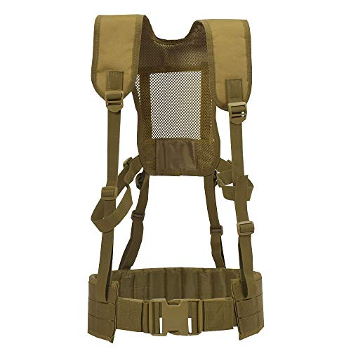 SINAIRSOFT Tactical Padded Battle Belt with Detachable Suspender Straps,Airsoft Combat Duty Belt with Comfortable Pads and Removable Harness for Patrol Army Training Outdoors Duty (Coyete Brown)