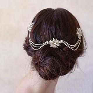 Asooll Bride Wedding Flower Hair Comb Bridal Crystal Layered Rhinestone Headpiece Elegant Gold Head Accessories for Women and Girls