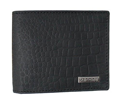 STARHIDE Mens RFID Blocking Embossed Croco Genuine Distressed Hunter Leather Wallet 1200 Matt Black
