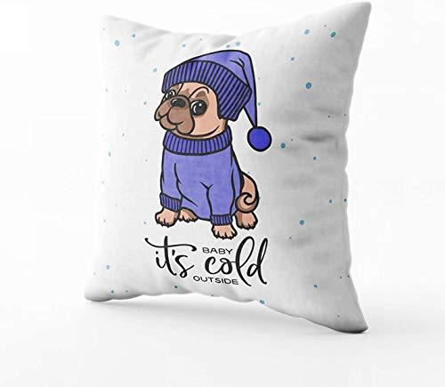 Kissenbezug für Weihnachten und Winter, Typografie mit süßem Mops-Hund in blauem...