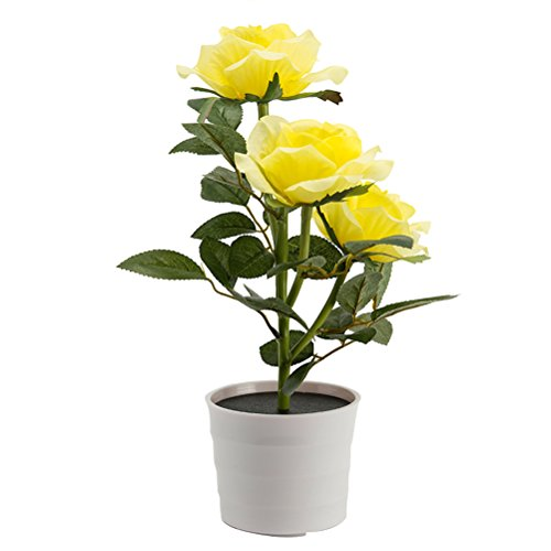 LEDMOMO Solar Flor Rosa Luces Funciona con Energía Solar para Jardín al Libre Aire (Amarillo)