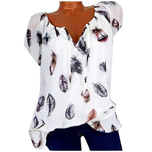 Blusa de manga corta para mujer, para verano, holgada, estampada, cuello en V A_blanco. XXXXL