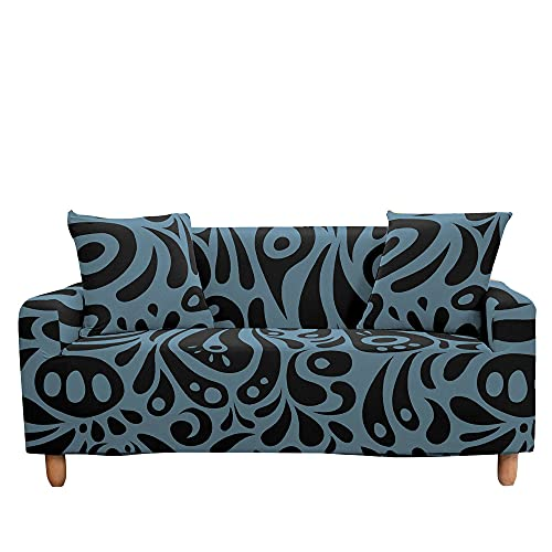 Surwin Funda de Sofá Elástica para Sofá de 1 2 3 4 plazas, Impresión Universal Antideslizante Cubierta de Sofá Cubre Cover Moda Sofá Funda Furniture Protector (Retro,4 plazas - 235-300cm)