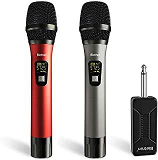 Wireless Microphone, UHF Wireless Dual Handheld Dynamic Mic System Set with Rechargeable Receiver, 260ft Range, 6.35mm(1/4'') Plug, for Karaoke, Voice Amplifier, PA System, Singing Machine, Church