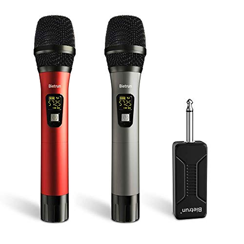 Wireless Microphone, UHF Wireless Dual Handheld Dynamic Mic System Set with Rechargeable Receiver, 260ft Range, 6.35mm(1/4