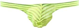 ONEFIT Men's Striped Briefs Sexy Translucent Low Waist U Convex Mini Bikini Briefs