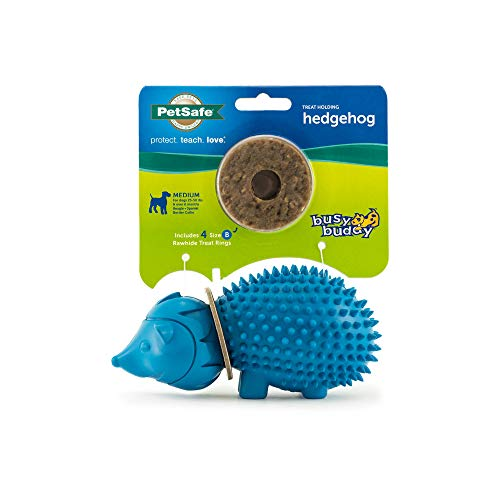 PetSafe Busy Buddy Animal Treat Ring Dog Toy – Chew Toy for Dogs – Medium Hedgehog