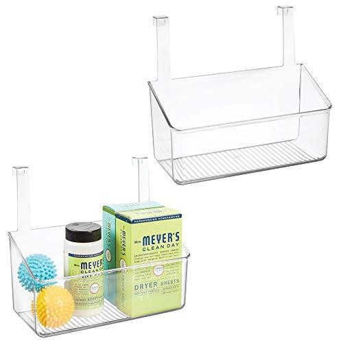 mDesign Juego de 2 organizadores para colgar de puertas – Cesta para armario de plástico para utensilios de cocina, detergente, etc. – Colgador para puertas de muebles de baño y cocina – transparente