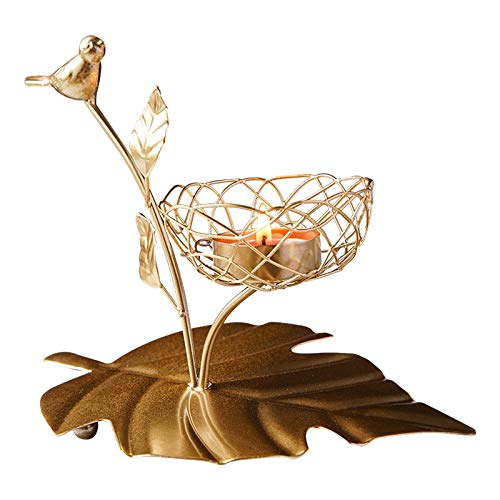 Myya Candelero con De Pájaro Dorado De Hierro Forjado, Decoración Romántica Forjada a Mano para Exhibición De Comedor En Casa