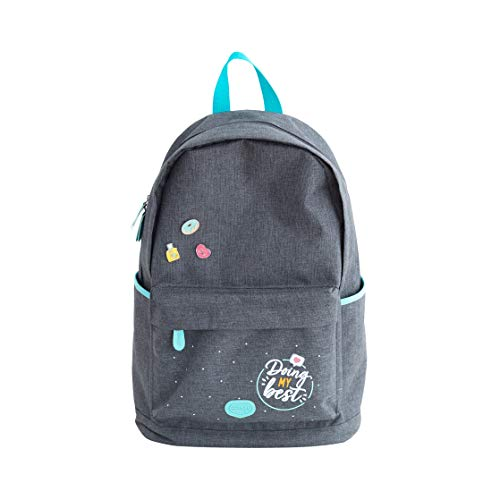 Mr. Wonderful Mochila Gris, Backpack - Doing my best Unisex Adulto, Multicolor, Talla única