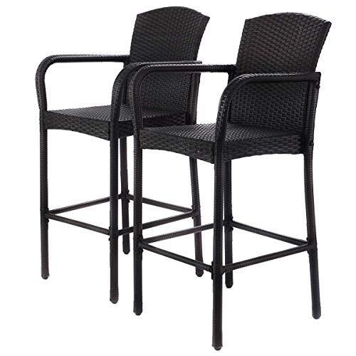Heize best price 2 PCS Wicker High Bar Stool High Counter Chair Outdoor Patio Furniture Armrest (U.S. Stock)