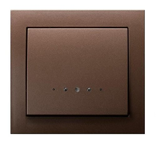 Un solo botón grande clic placa de pared interruptor de la luz interior marrón metálico con luz