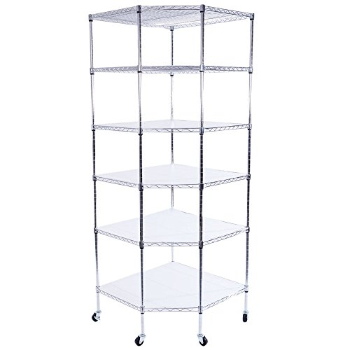 Azadx 6 Tiers Corner Shelf, Adjustable Metal Storage Wire Shelving Unit Corner Rack Corner Shelving, Free Standing Corner Storage Rack Display with Wheels for Living Room, Bathroom, Kitchen (Silver)