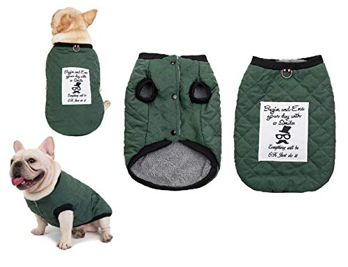 Tineer Pet Soft Fleece Coat French Bulldog Clothes Suede Plaid Cotton Thicken Jacket - Autumn and Winter Warm Costume Outfit - for Small Medium Dogs (XL (Chest 13.7' Back 23.6' Neck 17.3'), Green)