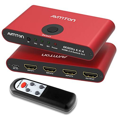 AVMTON Conmutador HDMI 2.0 HDMI 3 en 1 salida, conmutador HDMI con mando a distancia, de aluminio, compatible con 4K @ 60HZ, HDCP2.2, 3D HD1080P, conmutador HDMI para PS4 Pro, Xbox PC
