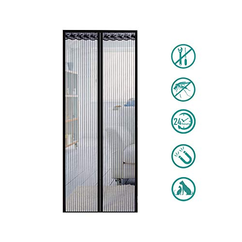 XXJF Insektenschutz Fliegengitter Tür Automatisches Schließen Insektenschutz Ohne Bohren Screen Door Mesh Mesh Durable Polyester Strong Magnets for Porch, Patio, Doorway, Keep Bugs Out