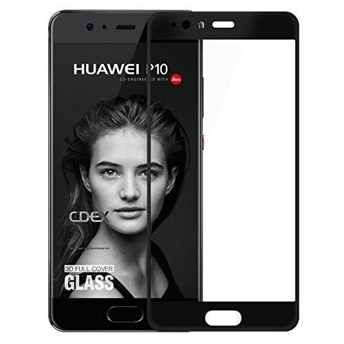 doupi FullCover Protector de Pantalla Compatible con Huawei P10, Cobertura Completa 3D 9H HD Duro Vidrio Templado, Negro