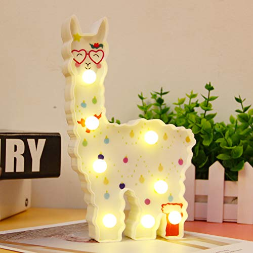 Llama gitfs Marquee Alpaca Sign with led Bulbs Kids Gifts Alpaca Lights Wall Decoration for Girls Room,Bedside,Home (White Llama Love)