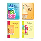 Designer Greetings Assorted Birthday Cards (12 Foiled and Embossed Greeting Cards with 13 Colored Envelopes; 3 Each of 4 Designs)