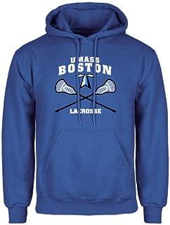CollegeFanGear UMass Boston Royal Fleece Hoodie 'UMass Boston Lacrosse Crossed Sticks'