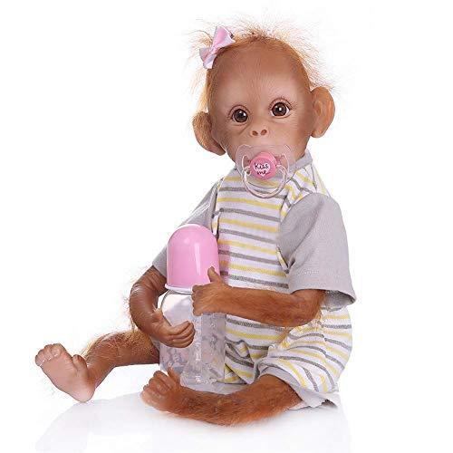 Zero Pam Reborn Monkey Baby Dolls Realistic Soft Silicone Cloth Body Newborn Girls Apes with Monkey Toy Lifelike Orangutan Real Life Reborn Babies Poseable Collectable