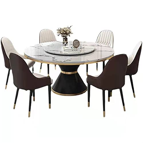 HMBB Mesa de comedor redonda de 7 piezas con 1 mesa de comedor y 6 sillas, mesa redonda de mármol blanco de 47 pulgadas