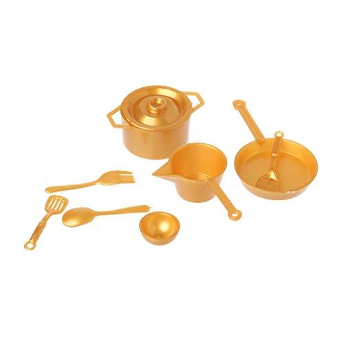 Lamdoo 10 Uds 1:12 Tenedor Olla Juego de Cocina Juguetes de Comida casa de muñecas Accesorios de muñecas en Miniatura