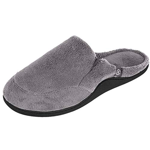 ISOTONER Mens Microterry Clog Slippers (Medium/8-9 D(M) US, Charcoal)