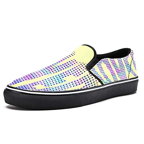 TIZORAX 3D Lover Slip on Loafer Shoes for Men Boys Fashion Canvas Flat Boat Shoe