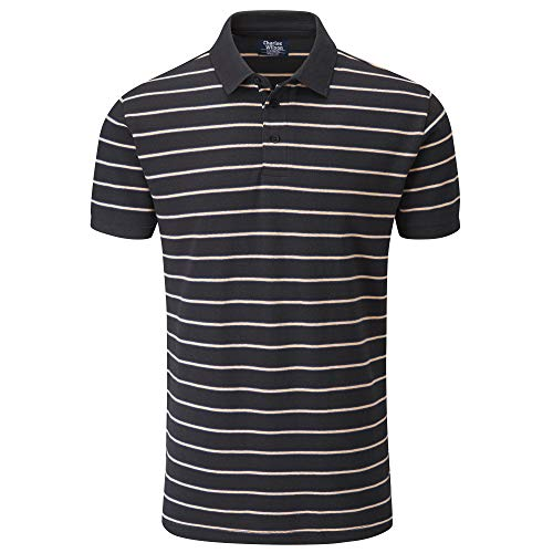 Charles Wilson Gestreiftes Piqué Poloshirt (Large, Dark Grey)