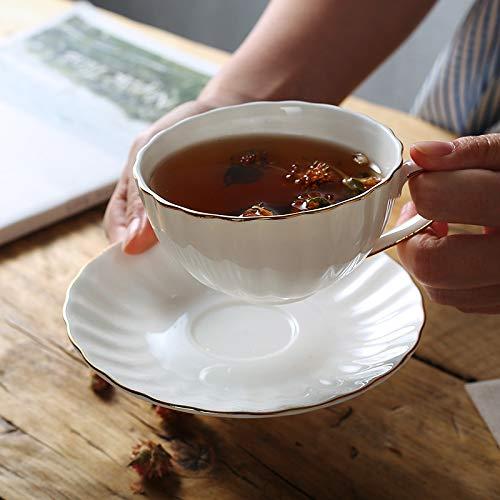 ZSSGSHR Juego de café de la Taza de té de la Tarde británica Pintura Manual de Regalo de Boda de la Boda del Dorado Occidental Restaurante Bone-China Copa (Color : 1 Cup 1 Dish)