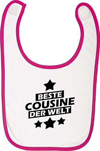 Shirtstown Babylatz, beste Cousine der Welt, Latz Lätzchen Sabberlatz Sprüche Logo Motiv Puller Party Familie Freunde Liebe, Farbe rosa