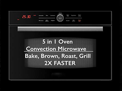 5 in 1 Oven Built In Convection Microwave with Drop Down Door: Bake, Brown, Roast, Grill, Toast & Microwave