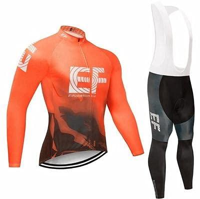 Checkless Traje de Ciclismo Hombre Invierno de Equipos Profesionales. Culotte y Maillot. Ropa Ciclismo con Badana 12D Gel Pad para MTB, Maillot Ciclismo Hombre Invierno (2XL, EF NARANJA)