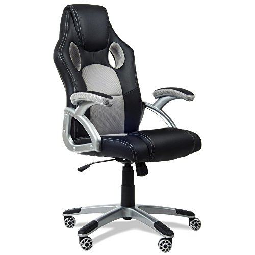 RACING - Silla gaming oficina color gris silla de escritorio racing ergonómica sillón de despacho giratorio con reposabrazos y altura regulable 65x54x120cm