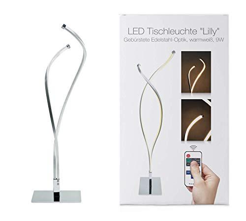 LED Universum Lampe de table LED Lilly : en aluminium à l'aspect chromé brillant et en plastique opale, 9 W, blanc chaud (3000 K), 47 x 12 x 12 cm, kit radio avec commande et contrôleur.